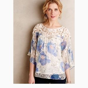 ANTHROPOLOGIE FLORFALL PEASANT TOP